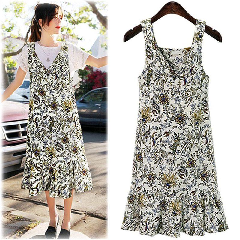 Plus Size Women Dresses 2XL 3XL 4XL Summer Vestidos Print Tank V-neck Sleeveless Ruffles Suspender Dress