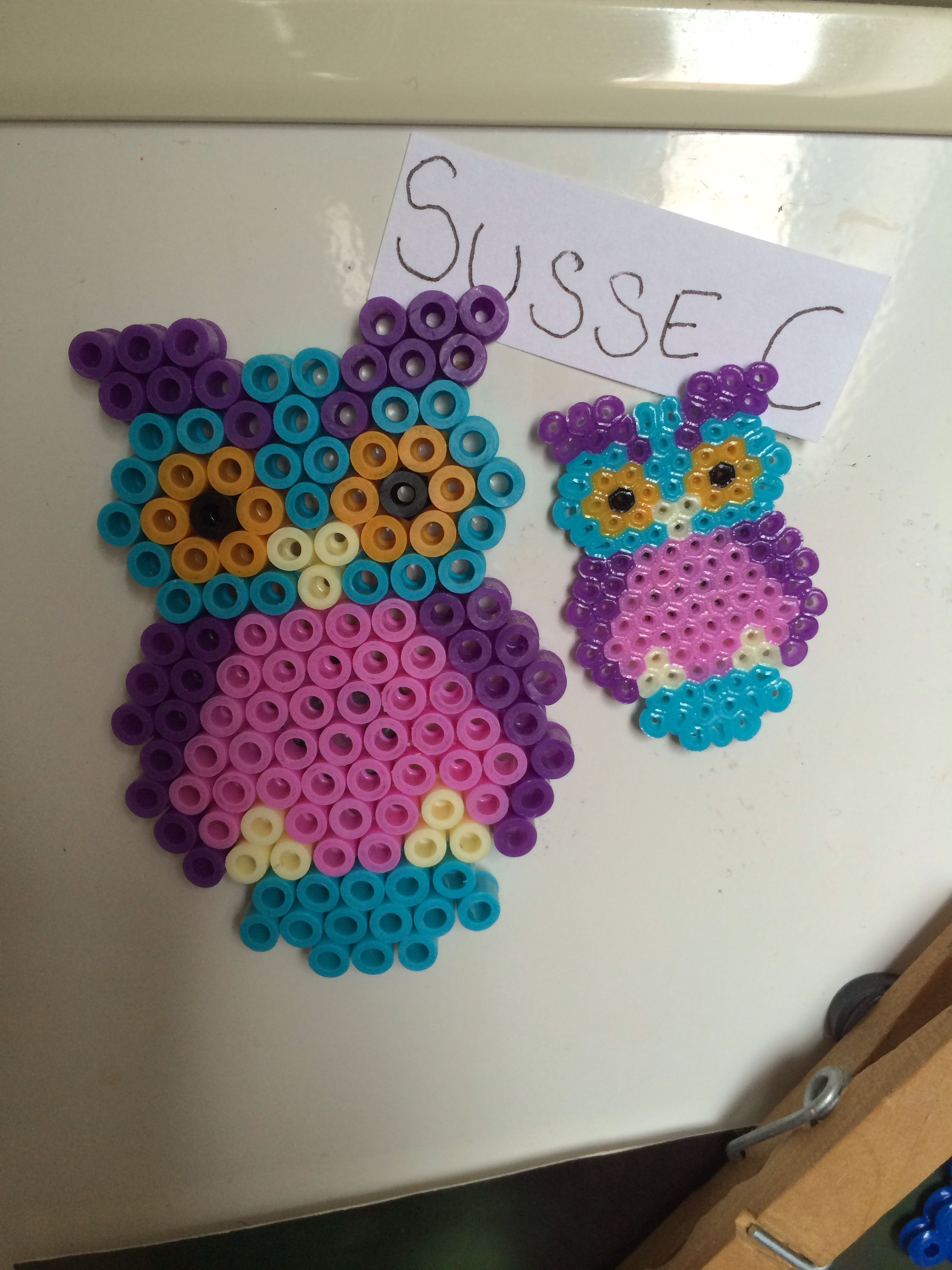 Owls hama perler beads made by my sister - Susse Cevin