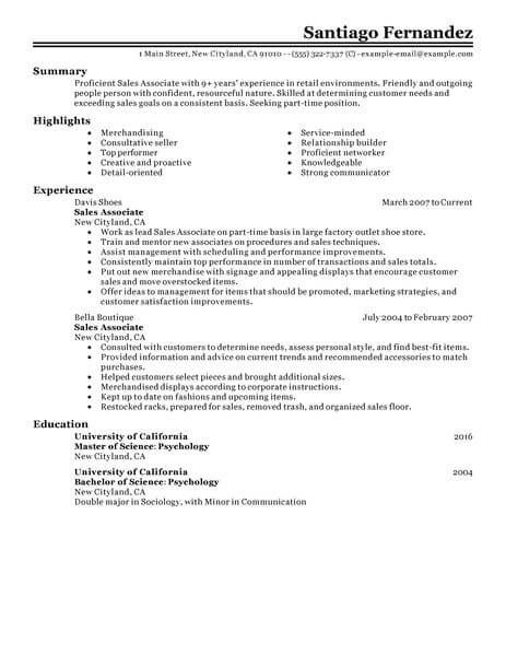 Resume Examples For Retail in 2018 Resume Examples Pinterest