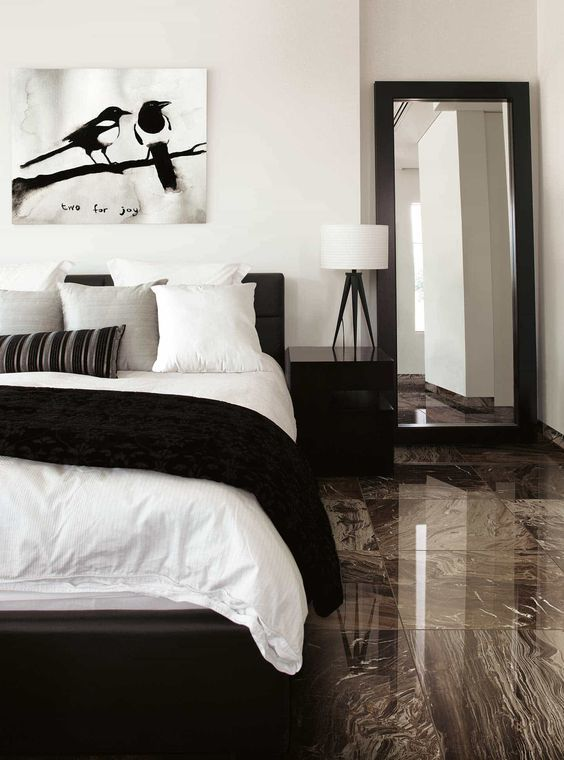 Black And White Is A Classic Color Combination And For A Good Reason The Strong Neutrals Serve As A S Tile Bedroom Black And Grey Bedroom Room Ideas Bedroom