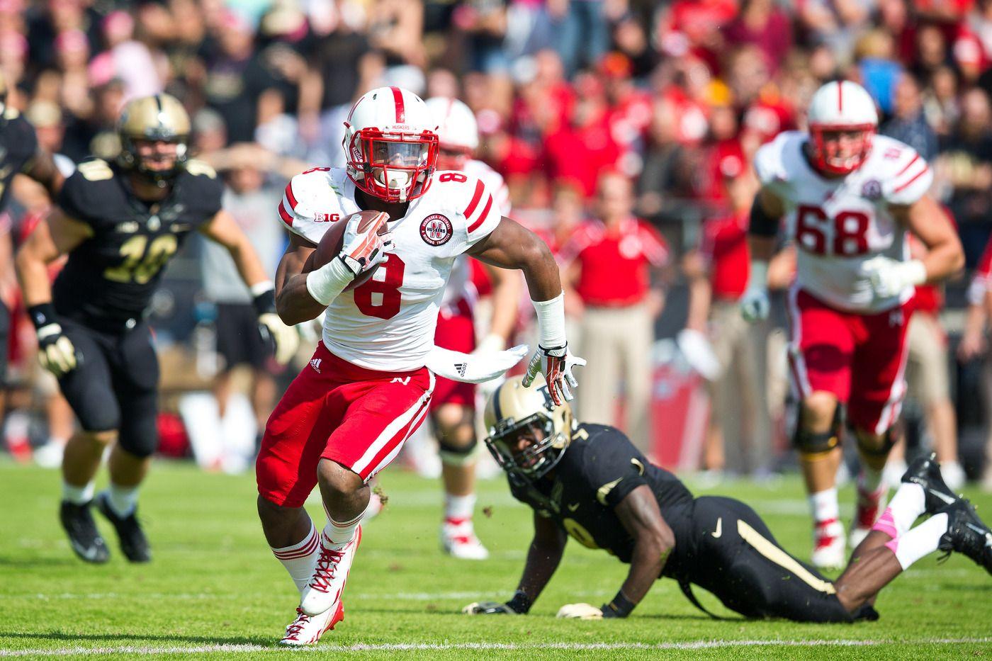 Nebraska running back Ameer Abdullah scores a touchdown in