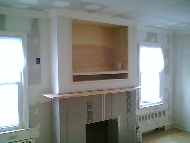 Gas Fireplaces With Tv Above Built In Wall Entertainment Units Cabinetry Stained Wood Mdf
