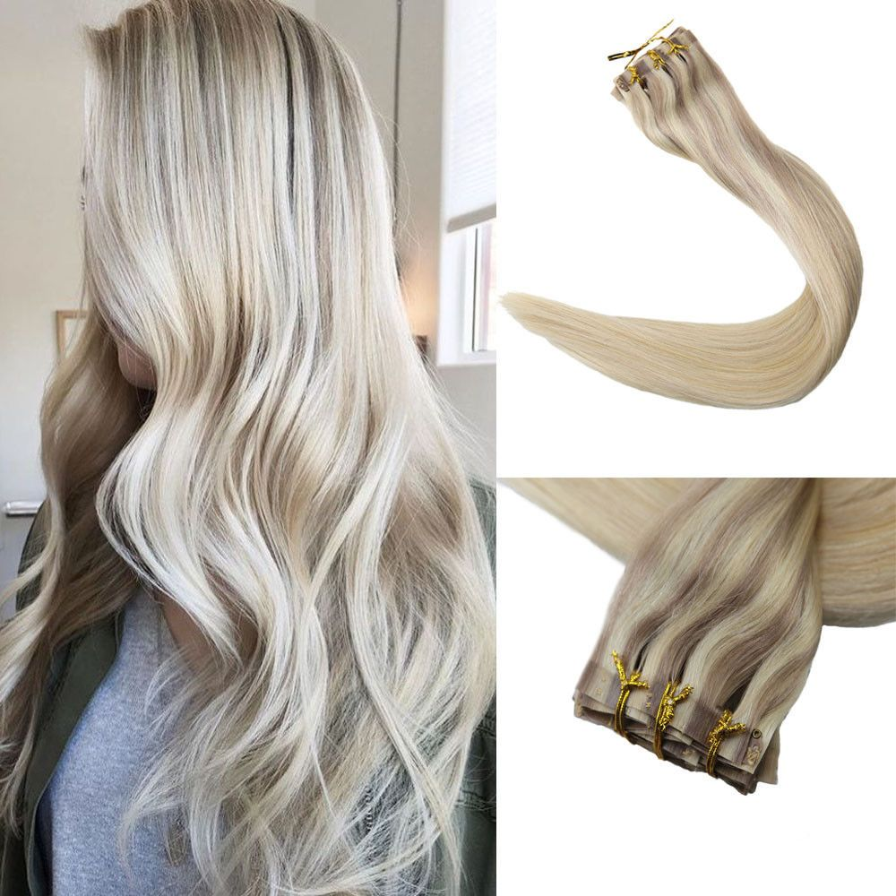Full shine pcs g invisible extensions balayage clip in real remy