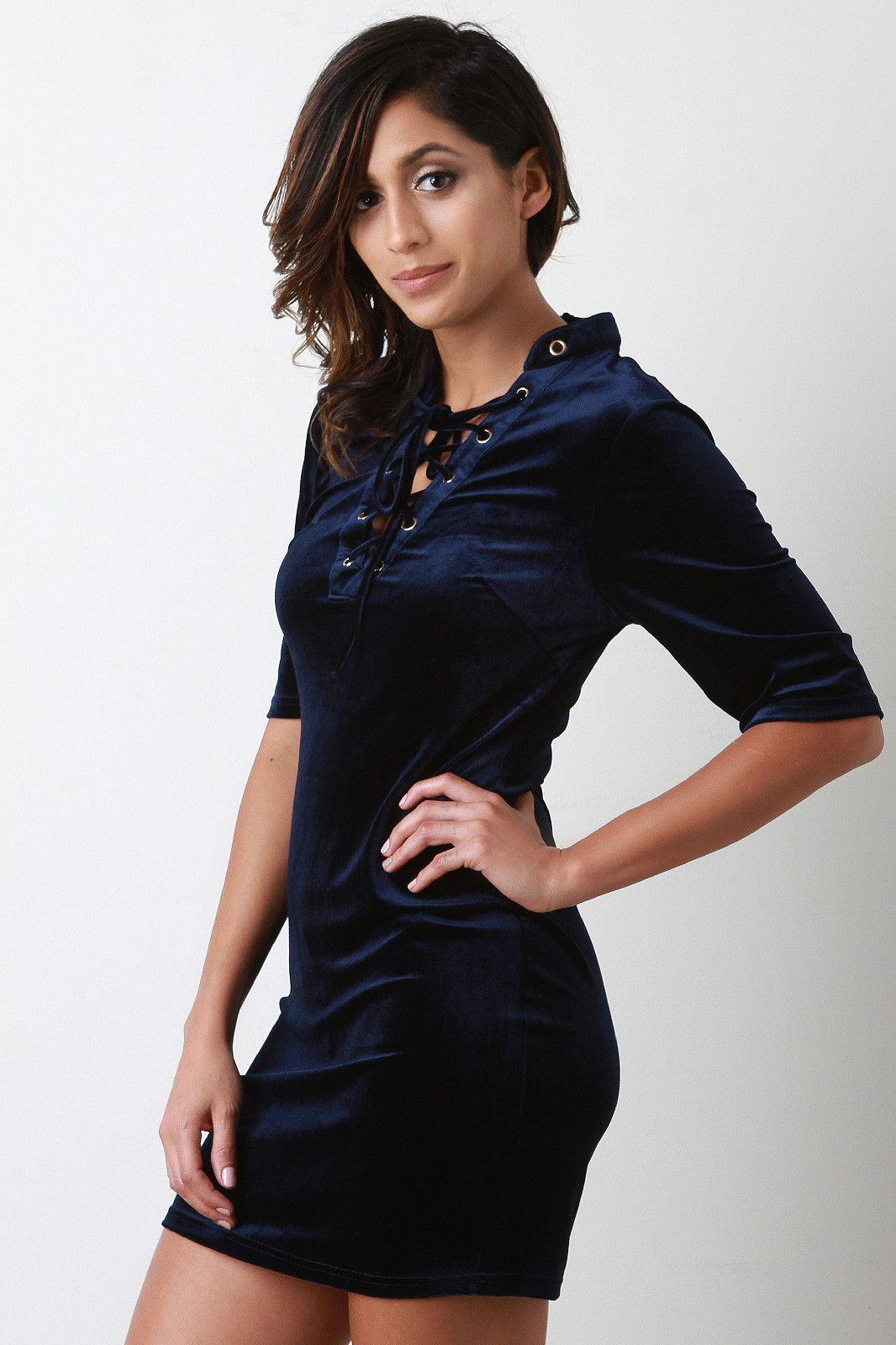 Velvet lace up short sleeve dress shorts products and lace