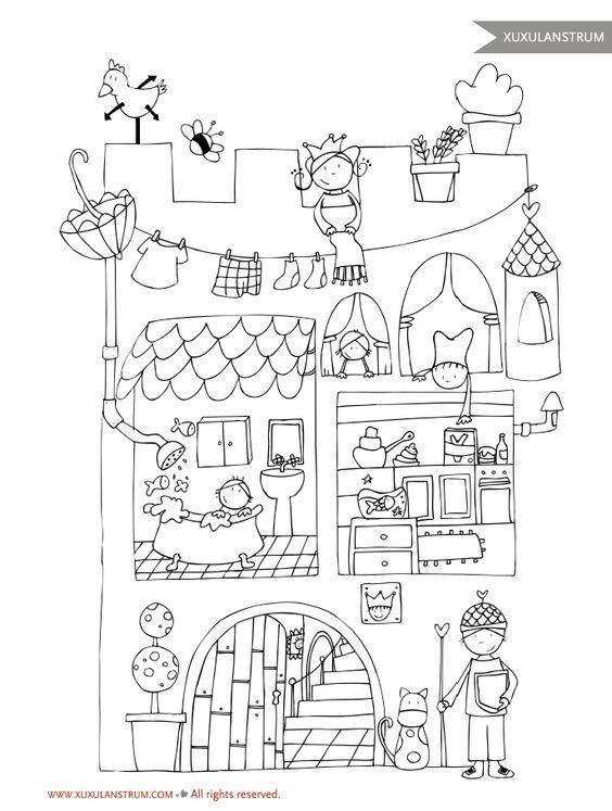 Dibujo castillo XuxuLanstrum para colorear.: | patch pintado ...