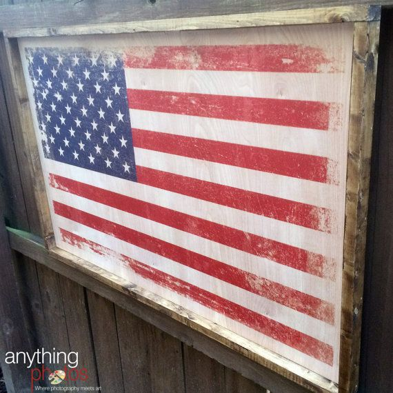 24x36 Distressed American Flag Artwork On Wood Panel Rustic With Optional Family Military Name Or Text For Free 4th Of July Framed American Flag American Flag Artwork Framed Flag