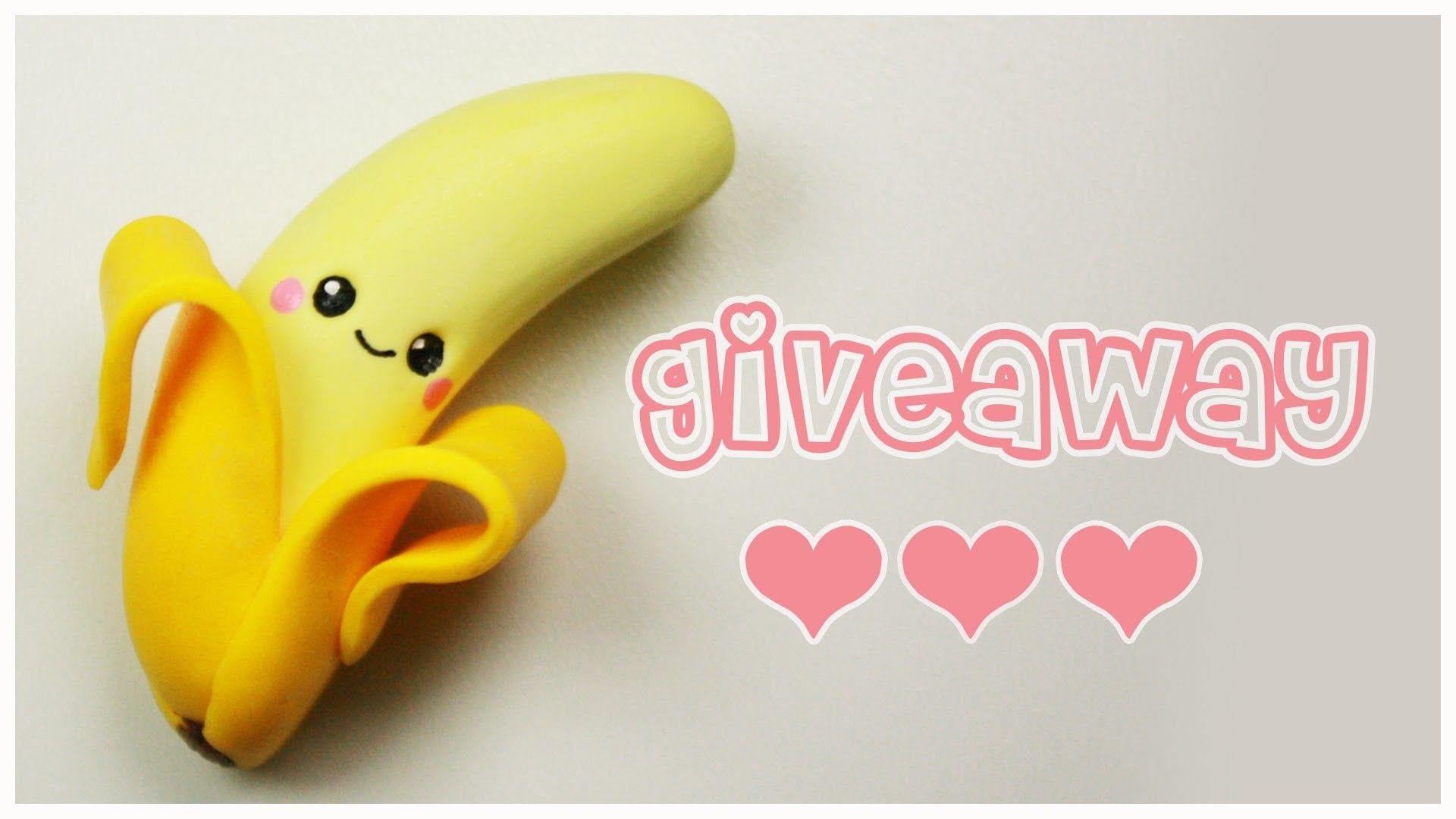 Polymer clay Kawaii Banana TUTORIAL + GIVEAWAY CLOSED ! ( jewelry & AmiGami toy)