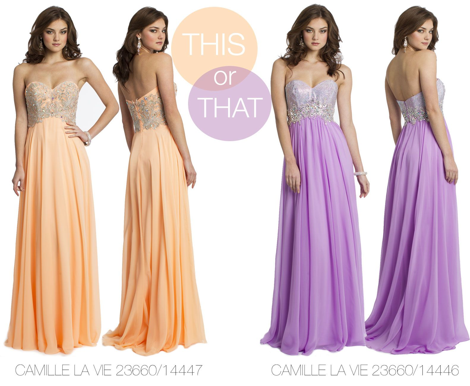 Camille La Vie Strapless Prom Dresses with Beautiful Bedazzled Bodices
