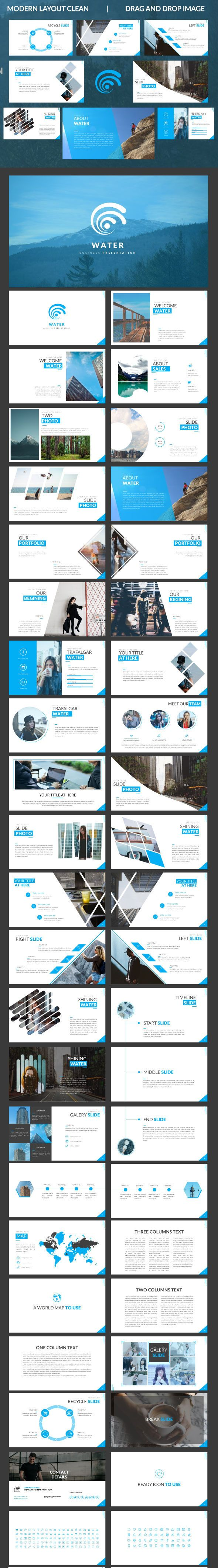 Water Google Slide Template  Presentation Templates Template And