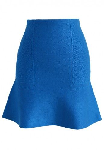 Casual Day Embossed Knit Bud Skirt in Blue