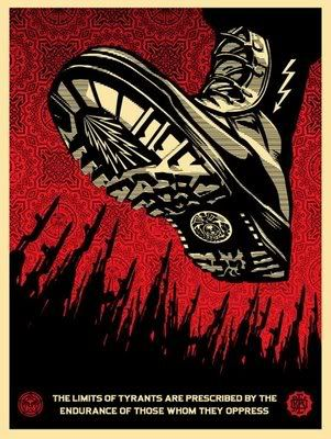 If you want a picture of the future, imagine a boot stamping on a human face — forever.   Activist art, Obey art, Shepard fairey