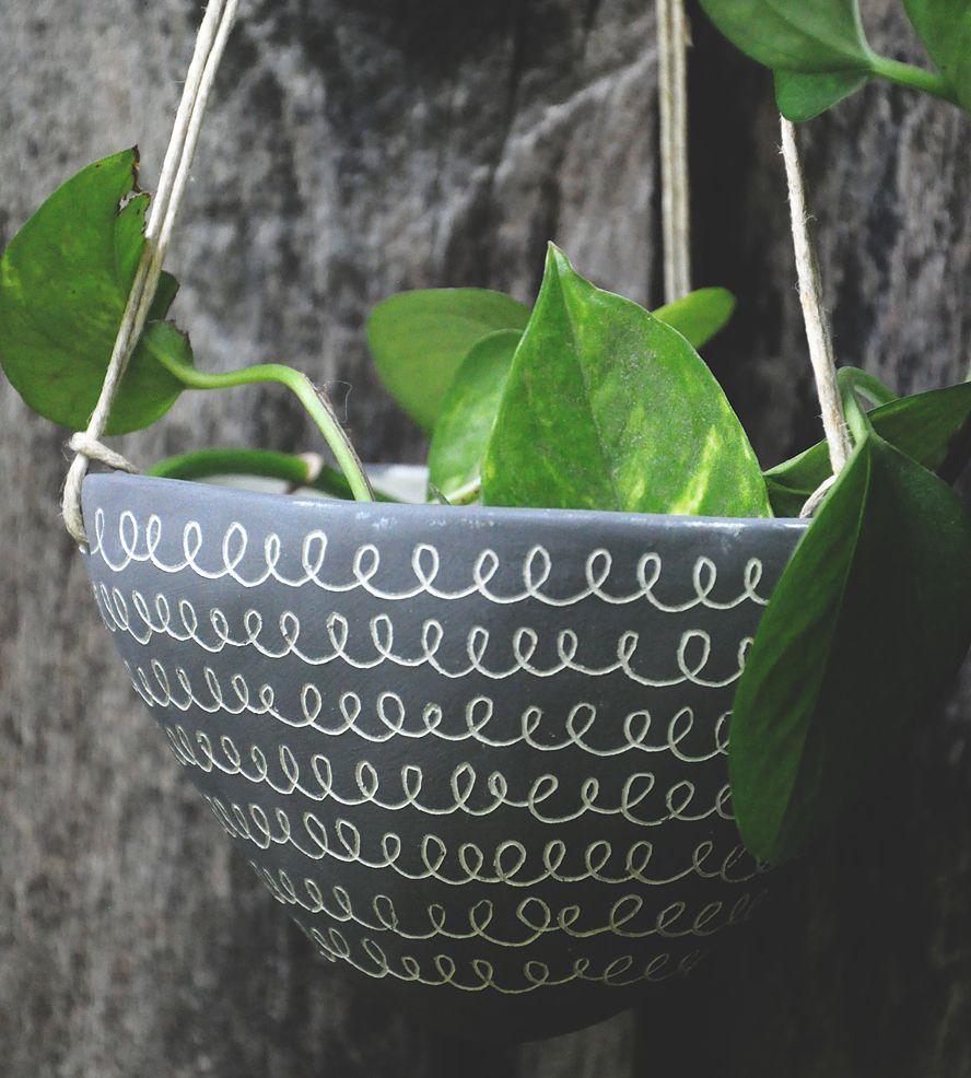"""""""Curlicue"""" Design Ceramic Hanging Planter"""