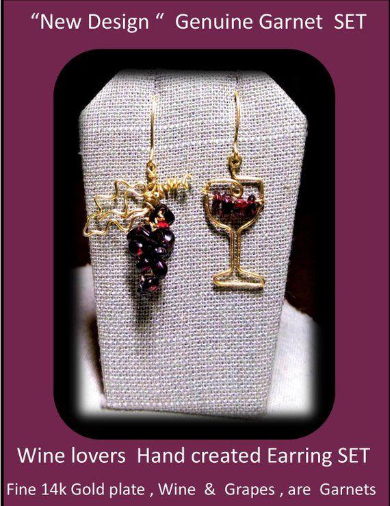 Wine tasting - Garnets, Garnet Earrings,wine lovers gift,wine