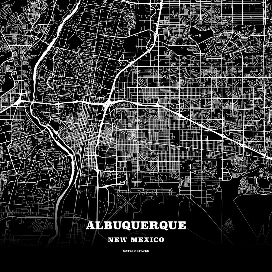 Black map poster template of Albuquerque, New Mexico, USA | Maps ...