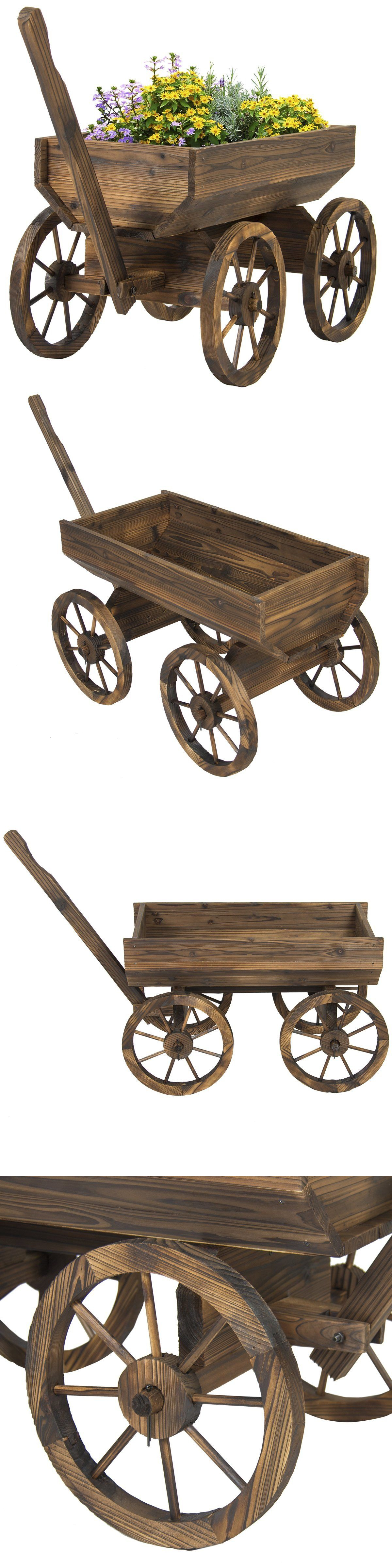 Plant Stands 29514: Garden Wagon Planter Wooden Patio Flower Pot Rustic  Cart Decor Backyard Plant