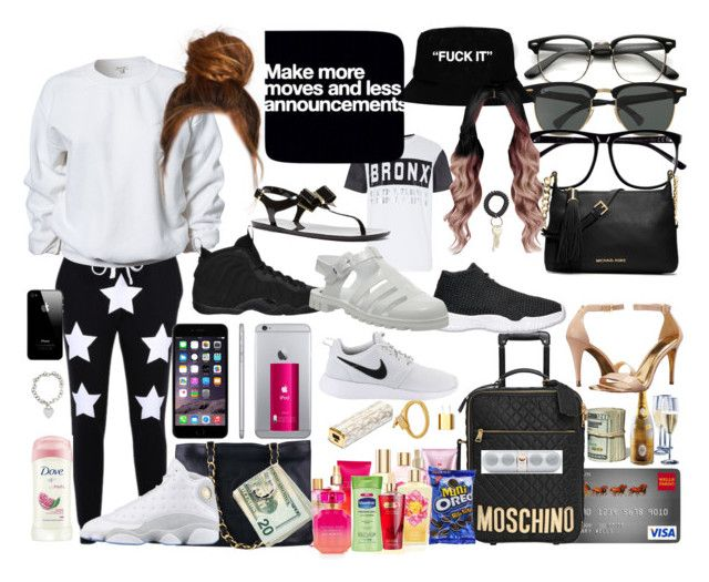 """Out Of Town"" by kimah101 ❤ liked on Polyvore featuring Moschino, Victoria's Secret, Michael Kors, River Island, Chanel, Ray-Ban, Ted Baker, H&M, NIKE and MICHAEL Michael Kors"