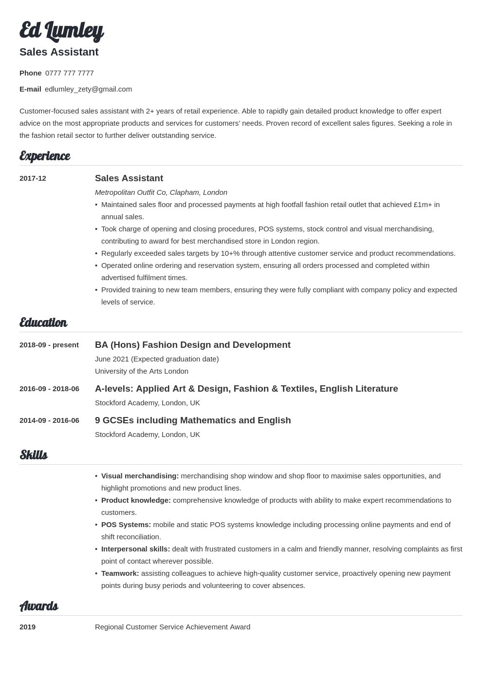 uk retail cv example template valera in 2020 Cv examples