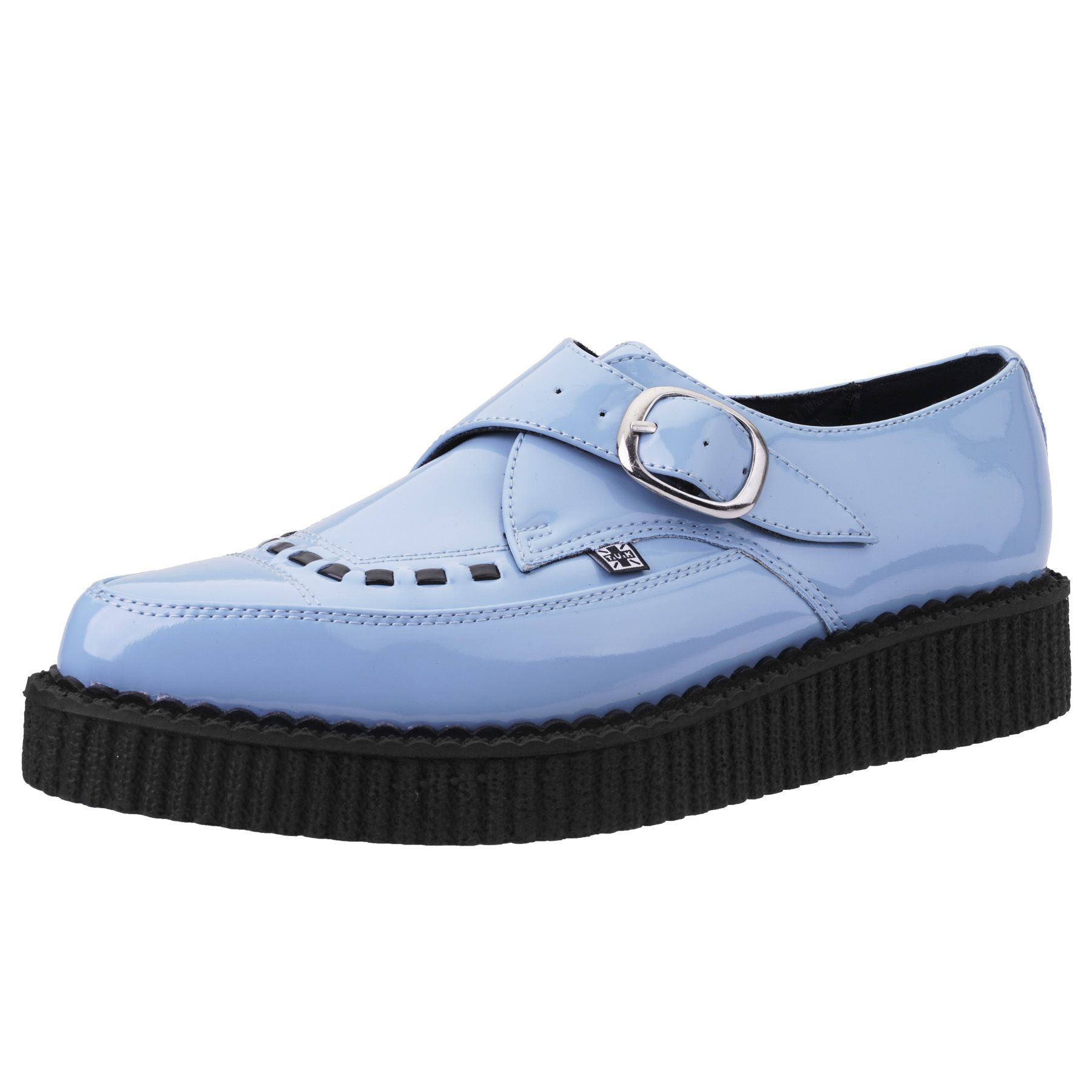 22d29ffcbb8eff T.U.K. Shoes Baby Blue Patent Buckle Pointed Creeper A9211
