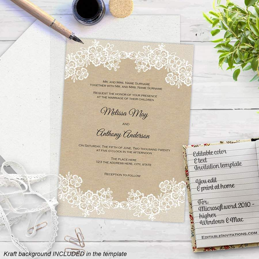 Free Microsoft Word Invitation Templates Impressive Free Download Wedding Invitation Templates  Bridal  Wedding .