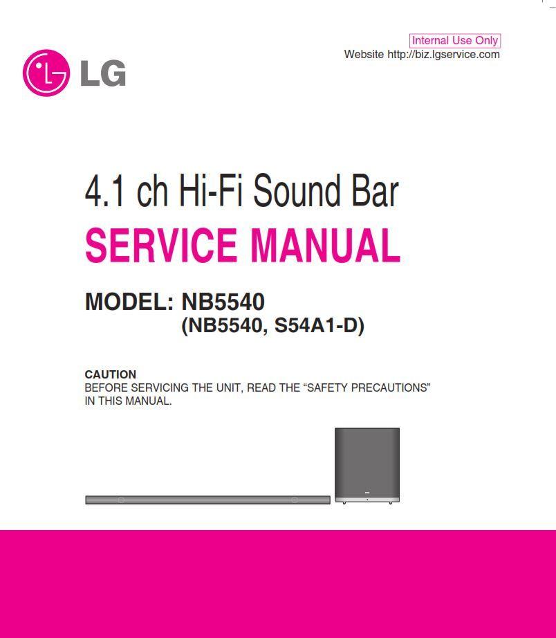 Lg Nb5540 Sound Bar System Original Service Manual And Repair Instructions Sound Bar Repair Guide Manual