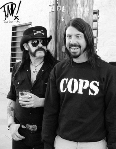 Oh, gosh, this man is a riot! Dave Grohl and Lemmy at the filming of White Limo