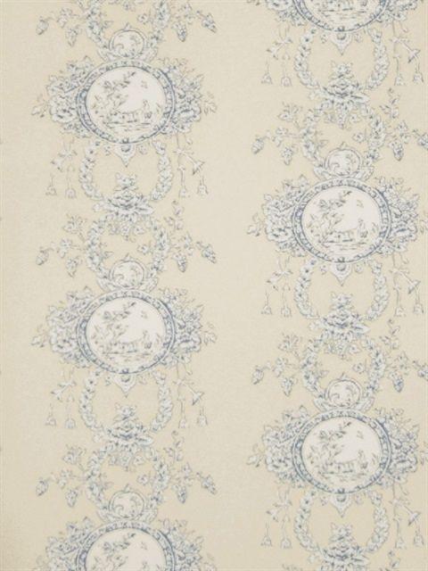Blue Monique Toile Wallpaper Wall coverings, Home decor