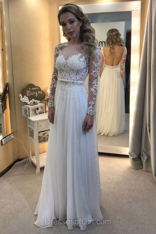 White Floral Lace Prom Dress with Front Split bcef6955951d