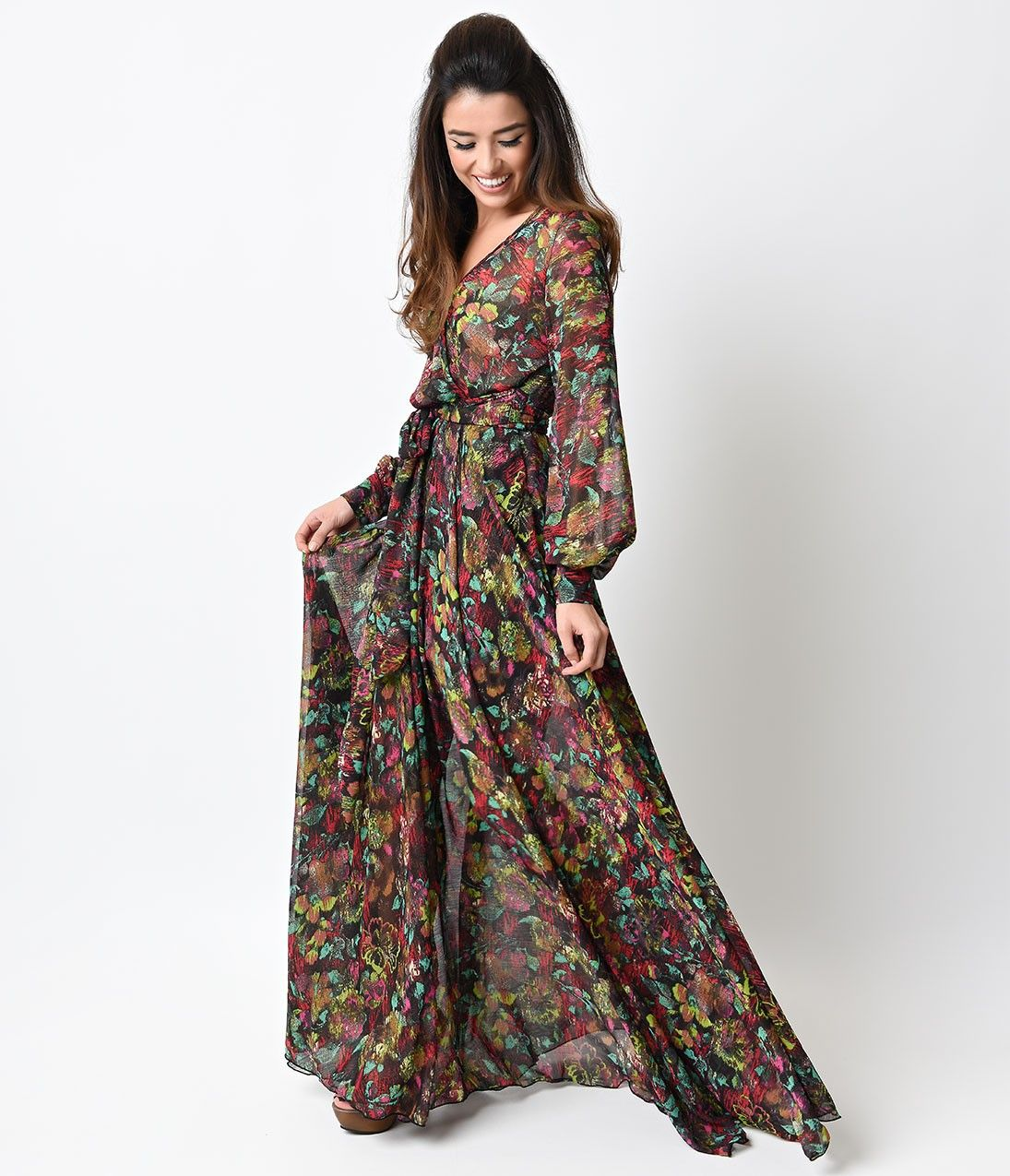 S style dark floral long sleeve shimmer maxi dress dresses