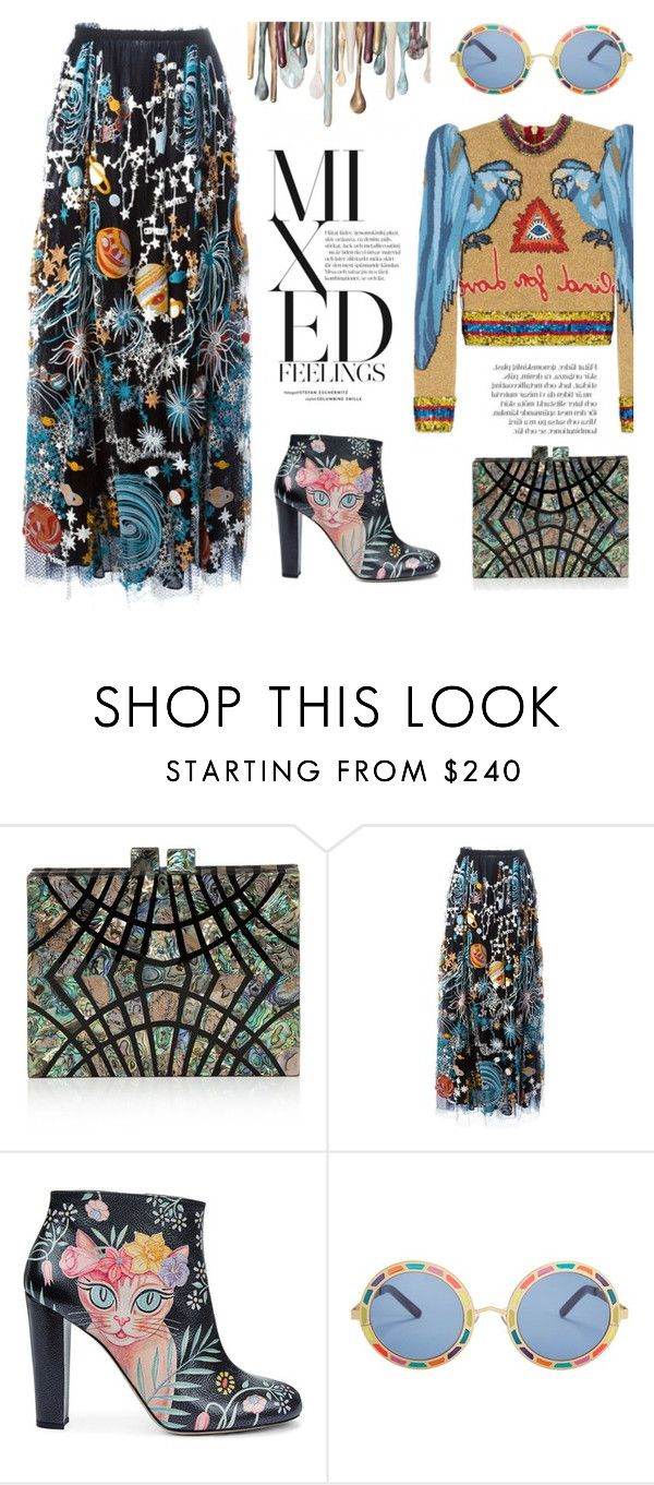 """Mixed Pattern"" by junglover ❤ liked on Polyvore featuring Nathalie Trad, Valentino, Camilla Elphick, Pared and Gucci"