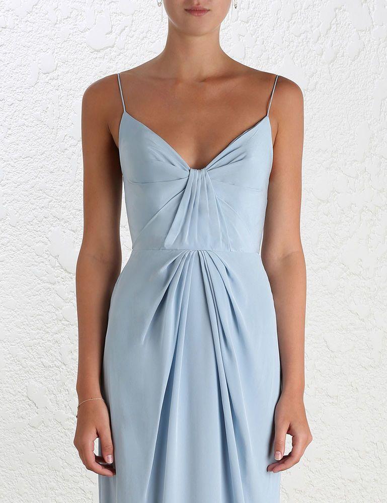 187849c7261e5 Zimmermann Silk Folded Dress Powder Blue Long Evening Event Size 2 ...