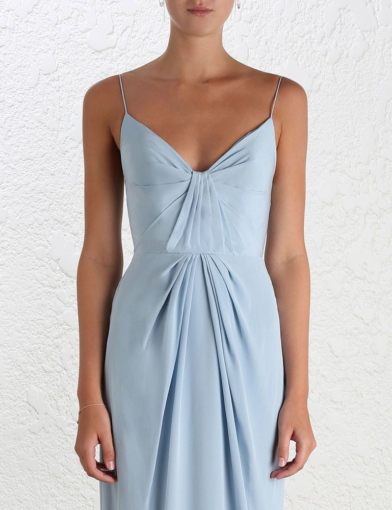 0c7c7dcae55 Zimmermann Silk Folded Dress Powder Blue Long Evening Event Size 2 ...