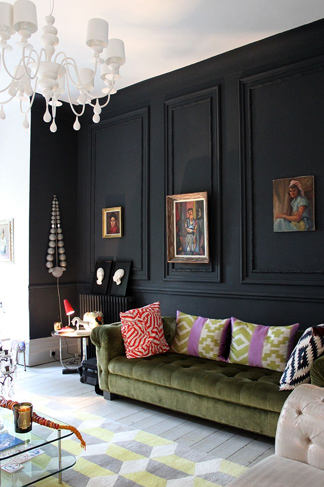 Black Feature Wall Olive Green Velvet Chesterfield   Swoon Worthy    LivingEtc House Tour