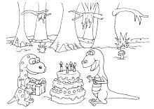 geburtstagsparty bei den dinos | ausmalbilder, malvorlagen für kinder