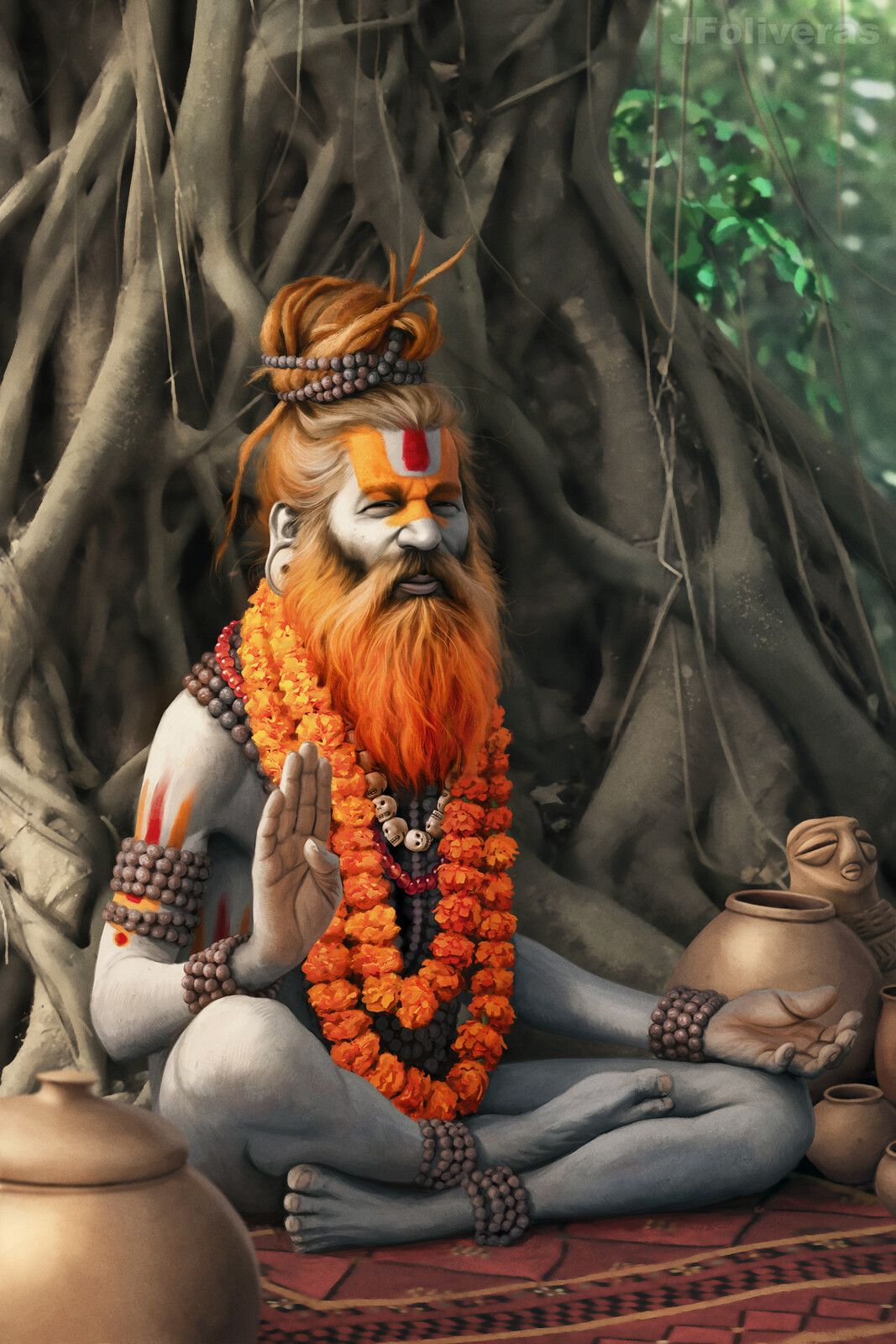 Shivaite Naga sadhu poking a | Stock Photo