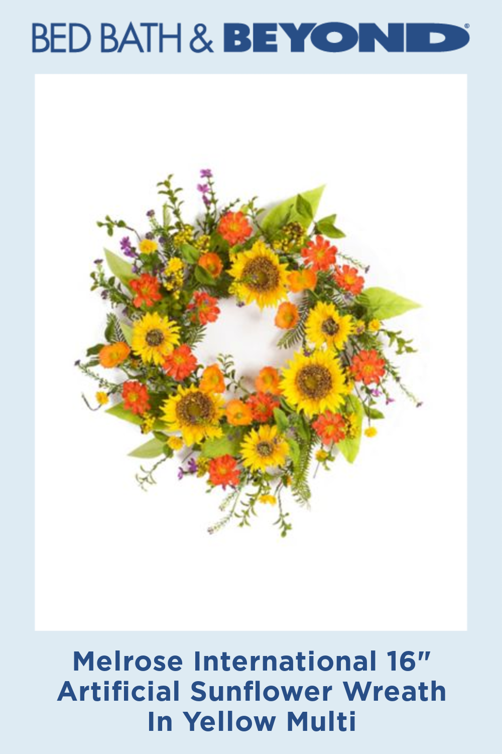 """Photo of Melrose International 16 """"Artificial Sunflower Wreath In Yellow Multi"""