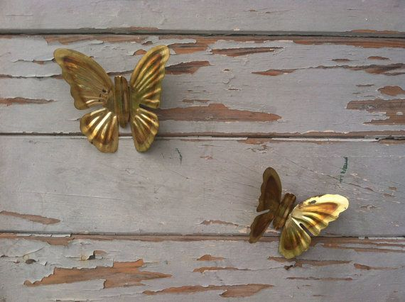 Vintage Gold Butterflies Brass Butterfly Wall Art Retro Home Decor Two Vintage Gold Metal Butterflies in Flight Wall Decorating & Vintage Gold Butterflies 1980u0027s Brass Butterfly Wall Art Retro ...