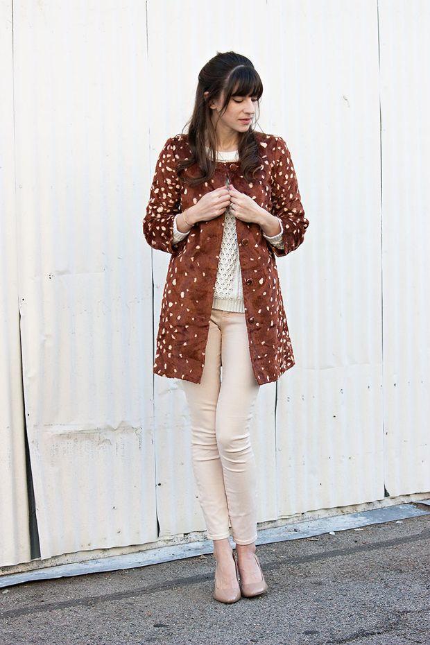 36350f8e28a0 Maison Jules Coat, Deer Print Topper, Cable Knit Sweater, Peach Jeans