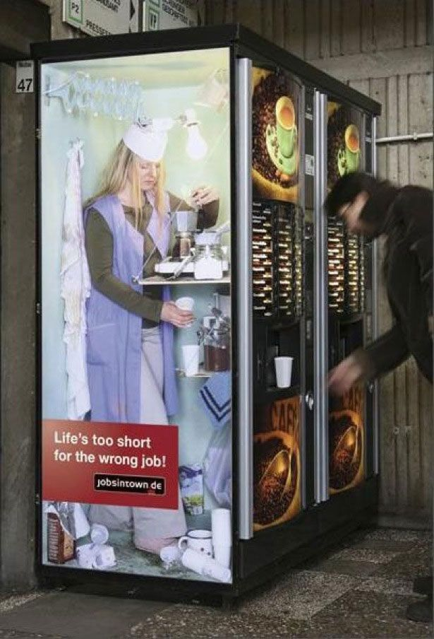 Jobsintown de guerilla marketing brilliant sticker advertising campaign that won prestigious awards and drew