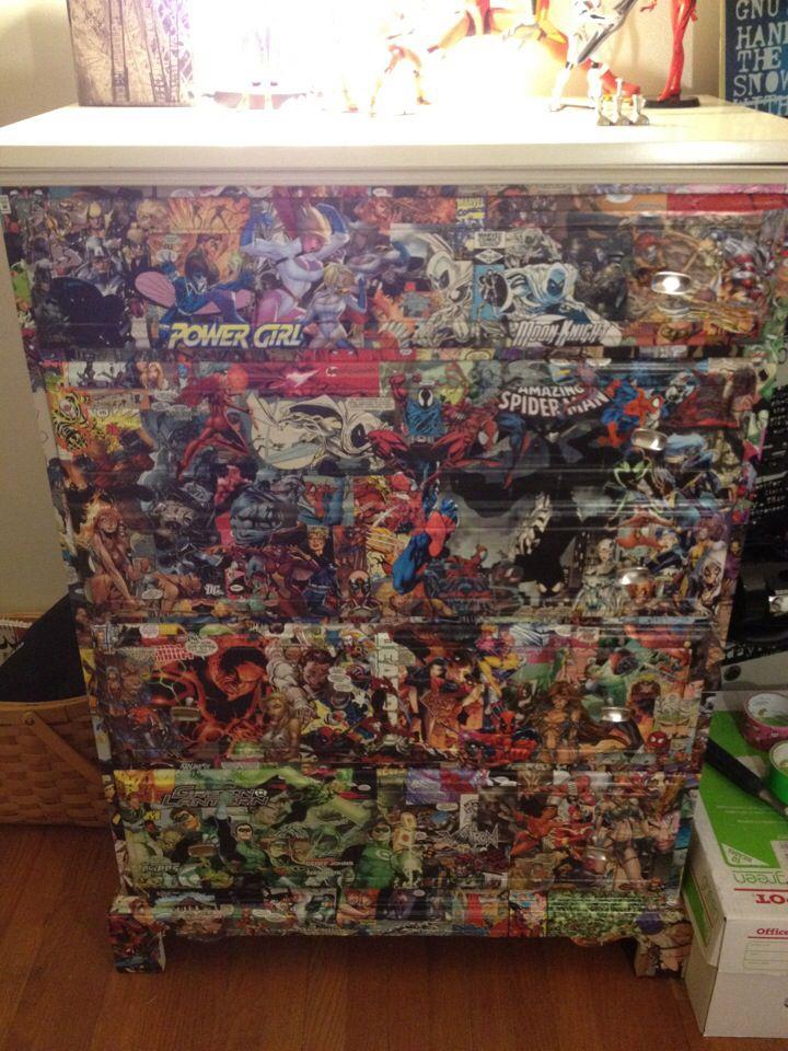 my awesome comic book storage dresser decoupage with comic book rh pinterest com