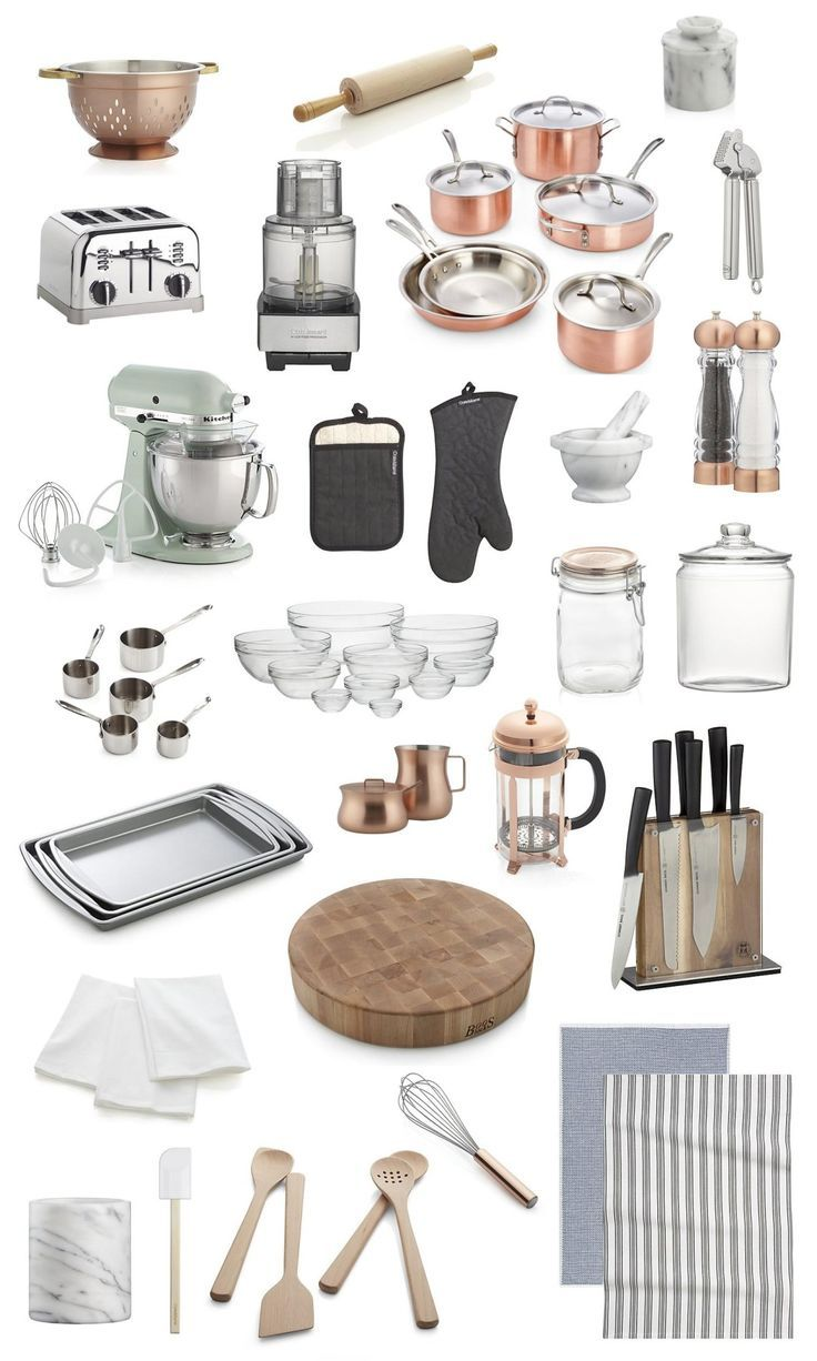 Collection of copper, glass & stainless steel kitchen accessories ...