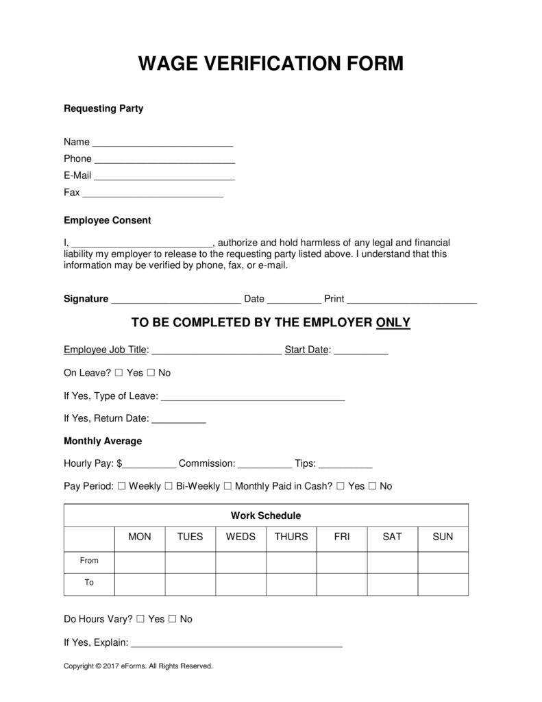 Free Wage Verification Form Pdf Word Eforms Free Fillable