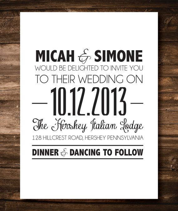 Black and White Simple Wedding Invitations by EKDesignSolutions