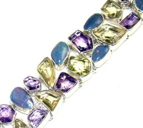 Beautiful item with Lemon Quartz, Amethyst Faceted, Fire Opal Gemstone(s) set in pure 925 sterling silver.