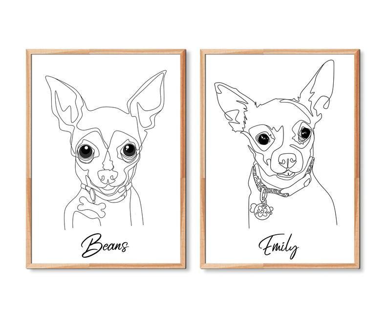 Custom Pet Portrait Minimalist Line Painting
