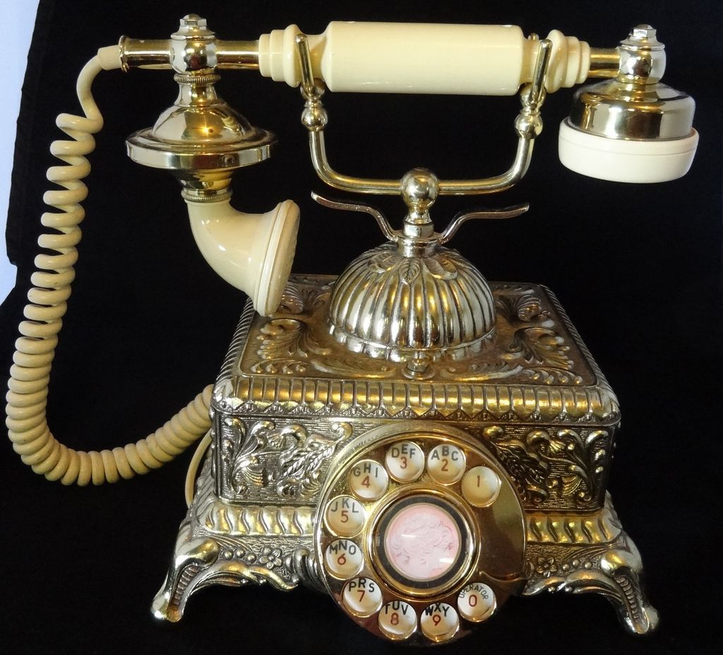 small resolution of vintage 70 s ornate goldtone metal rotary dial princess phone
