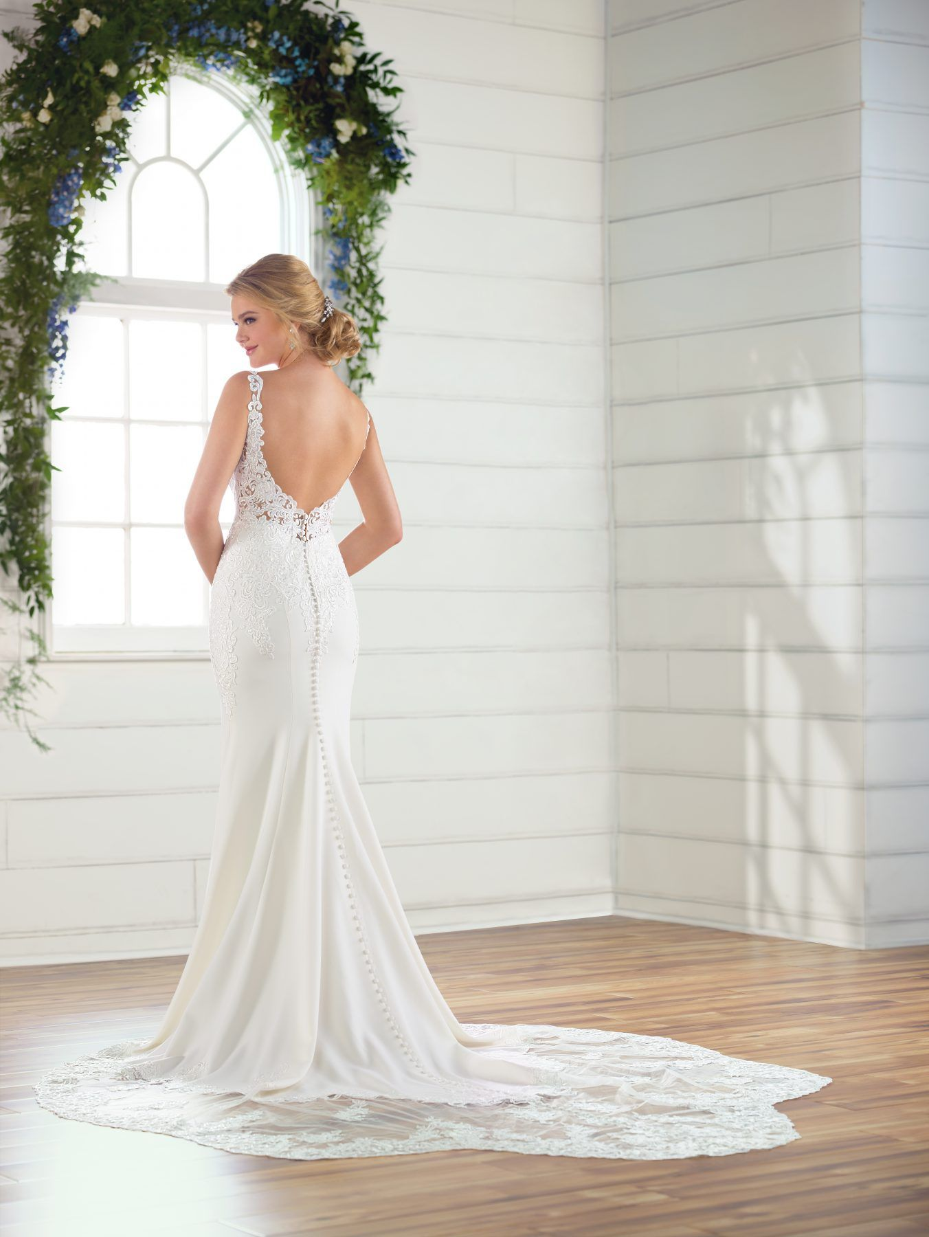 Vneck crepe wedding dress Essense of australia wedding
