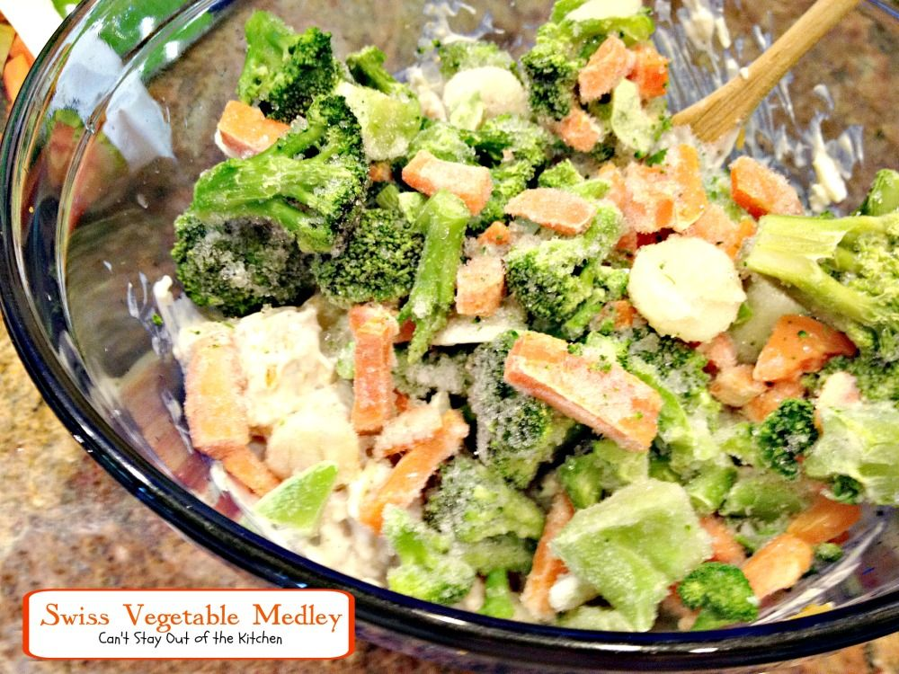 Swiss Vegetable Medley | Can't Stay Out of the Kitchen | this tasty #casserole uses #swisscheese, #creamofmushroomsoup, and #Frenchfriedonions to season broccoli, cauliflower and carrots!