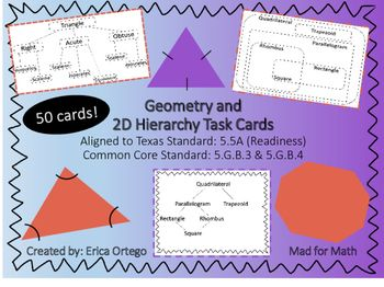 Geo Classify 2d Figures In Hierarchy Sets Task Cards 5 5a 5 G B 3 5 G B 4 Task Cards Staar Review Math Staar Math