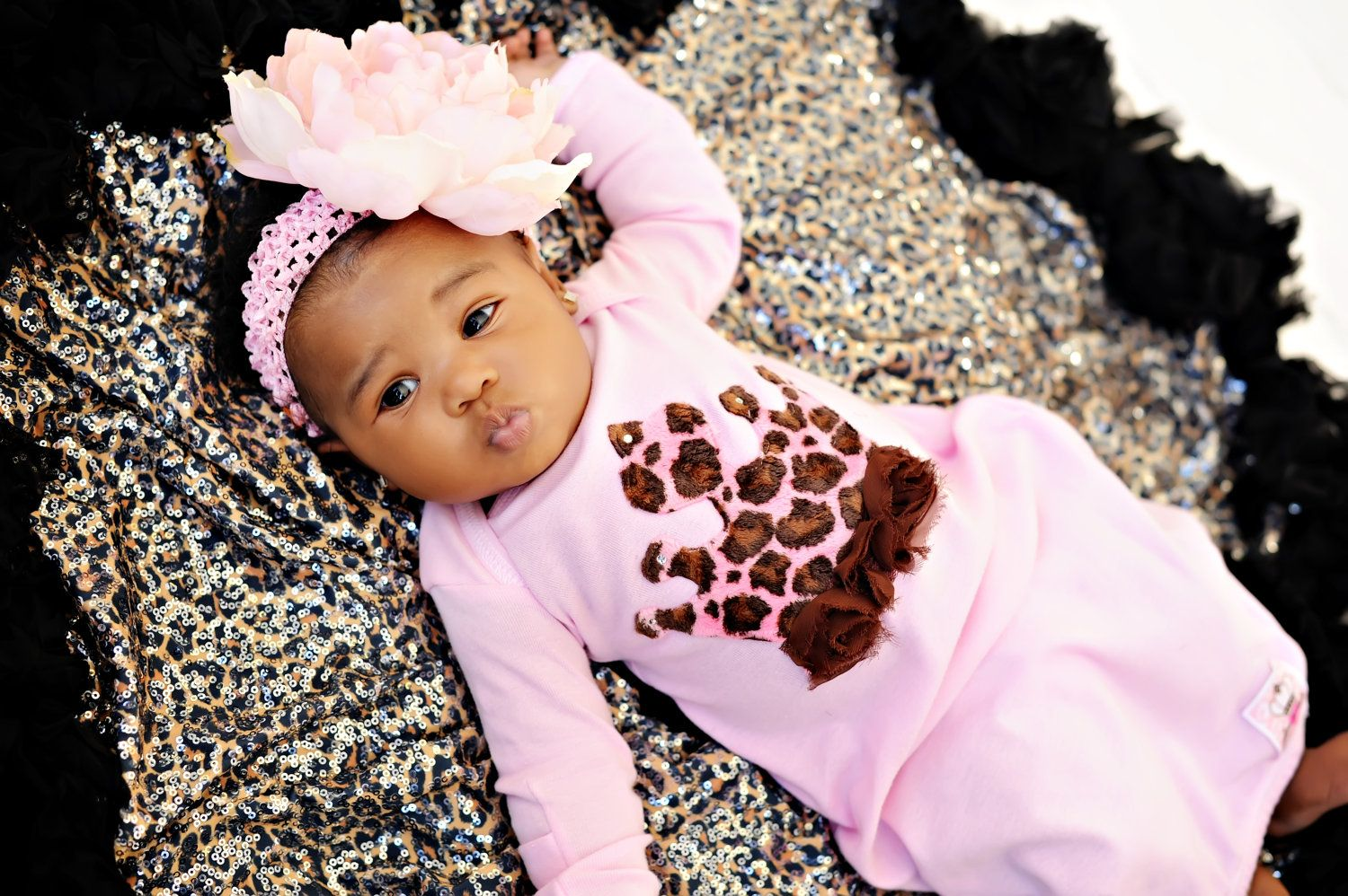Over the Top Pink Princess Newborn Baby Gown with feathers. $33.99, via Etsy.