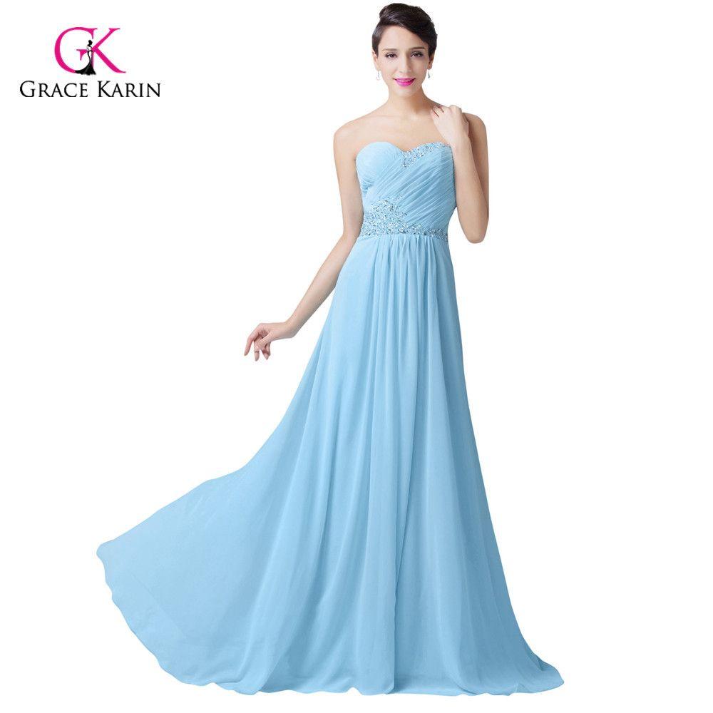 Grace Karin Beaded cheap light Blue Evening Dresses Long Prom ...